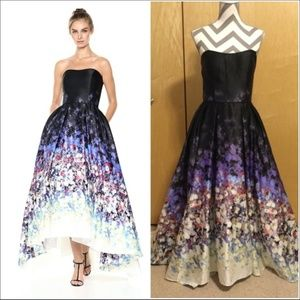 Strapless Floral Prom Evening Gown Military Ball